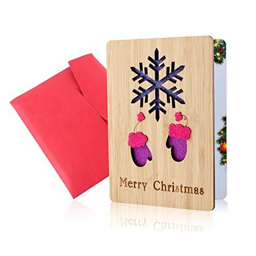 Holz-Grußkarte, Grußkarte aus Holz, Weihnachtskarten, Frohe Weihnachten Karte, Echte Bambus- und Holzgrußkarten, Bunte Weihnachtsmotive, Weihnachtsgeschenke und -Wünsche, Weihnachtsthemen(Schneeflocke