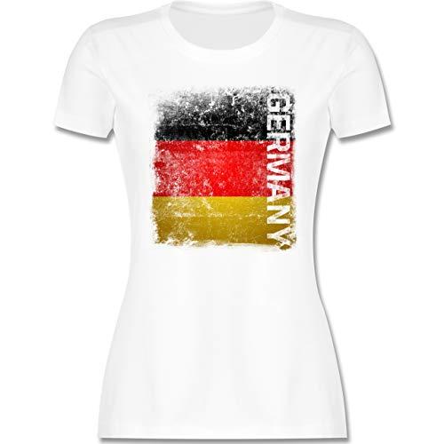 Fussball EM 2021 Fanartikel - Germany Vintage Flagge - XL - Weiß - wm 2018 Deutschland Shirt - L191 - Tailliertes Tshirt für Damen und Frauen T-Shirt