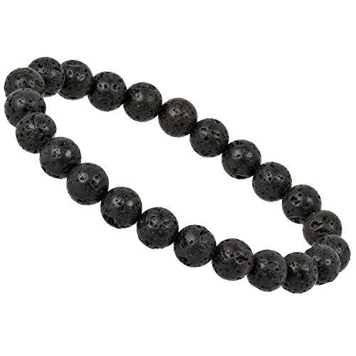 ELEDORO PowerBead Damen-Armband Stretch aus Edelstein Perlen 8 mm 17-18 cm mit Lavastein
