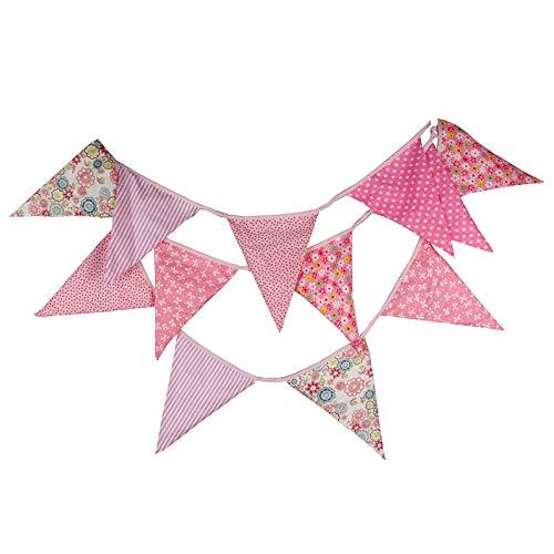 3.7M Guirnalda de banderines,Banderines de Tela,guirnalda fiesta,Triángulo banner Clásico Chic Decoración de Tela para decoración,fiestas de cumpleaños de boda