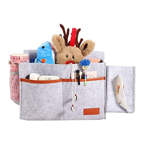 Lfhing Felt - Bolsa de almacenamiento para colgar en la ropa de cama con orificio para gancho y cinta de sujeción para mando a distancia