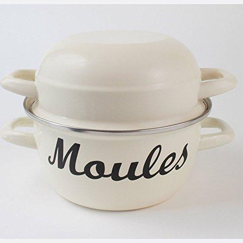 Victor Enamel Mussel Pot, Champagne, Steel, 26x20x17 cm