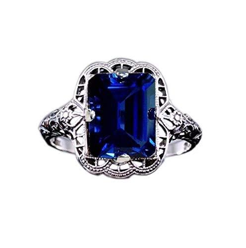 Goddesslili 925 Silver Women Rings Crystal Vintage Retro Wedding Engagement Anniversary Jewelry Gift Under 5 Dollars, Size 7 (Dark Blue)