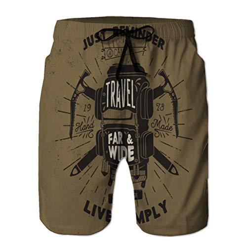 Xunulyn Boardshorts Hommes 'Quick Dry Swim Trunks Beach Shorts Vintage dessiné à la Main vêtements texturés Mode Impression Camp Sac à Dos rétro Badge Effet Vieilli