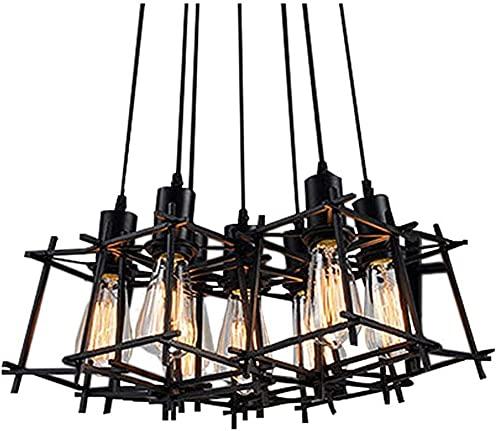 Waqihreu Accesorio de iluminación Colgante de Estilo Simple Vintage,iluminación Colgante Ajustable Lámpara de Techo Colgante de Hierro Industrial para Comedor Dormitorio