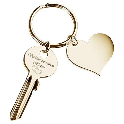 Geschenke 24 Schlüssel zu Meinem Herzen mit Gravur Gold + Herz-Anhänger