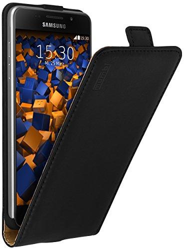 mumbi Echt Leder Flip Hülle kompatibel mit Samsung Galaxy A5 2016 Hülle Leder Tasche Hülle Wallet, schwarz