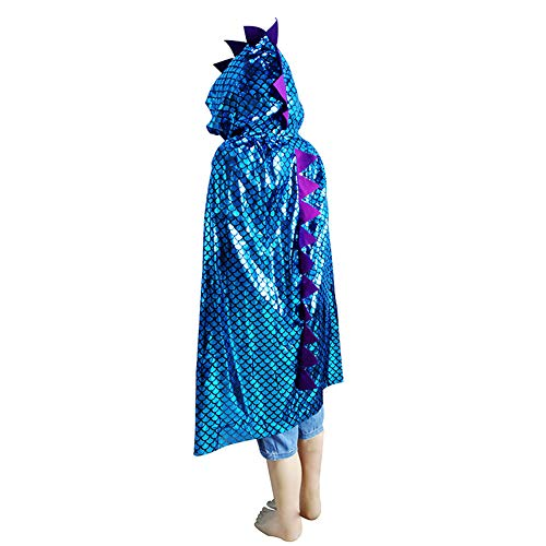 Westeng Kinder Umhang mit Kapuze Kreatives Dinosaurier Umhang Halloween Kostüm für Karneval Cosplay Party Dekoration (blau)