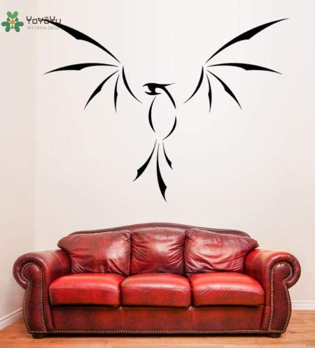 yuandp muursticker vinylkunst afneembare muursticker Phoenix Fenix  silhouet vuur vogel DIY kamerdecoratie wandfoto 57 * 78 cm