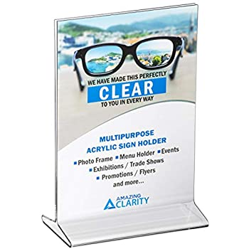 Amazing Clarity 5x7 Inches Acrylic Sign Holder / Table Top Menu Display Stand Pack of 6