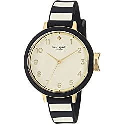 Kate Spade New York Women's Park Row Quartz Stainless Steel, Silicone Three-Hand Sports Watch, Color: Gold, Black/White Stripe (Model: KSW1313)