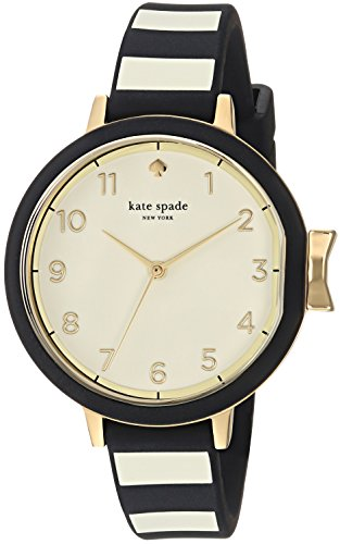 Kate Spade New York Women's Park Row Quartz Metal and Silicone Watch, Color: Black/Gold, Stripes (Model: KSW1313)