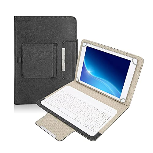 Goshyda Custodia Protettiva per Tablet PU da 10    + Tastiera Bluetooth, con Funzione di Supporto, Universale per Tutti i Tablet da 9,7 pollici-10,1 Pollici, per iPad Samsung Huawei