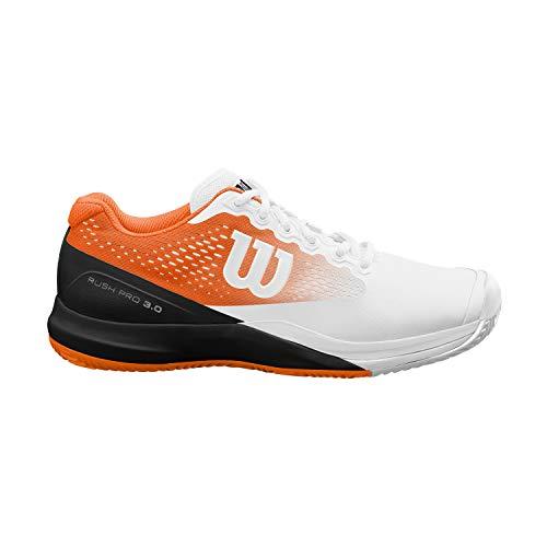 Wilson Herren Rush PRO 3.0 Paris Clay Tennisschuhe, weiß/orange/schwarz, 45 1/3 EU