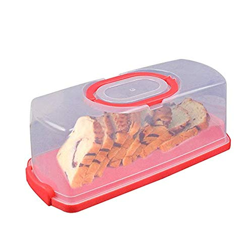 Pazstarle Plastic Rectangular Bread Box with Portable Handle 13inch Translucent Cake Container Box for Dry or Fresh Foods Loaf Cake Keeper (Red)