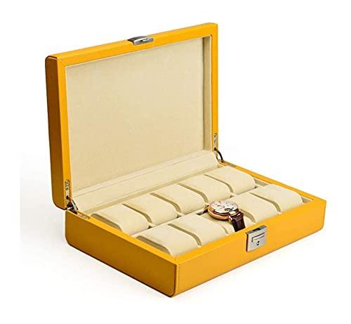 SSHA Joyero Caja de Almacenamiento de Joyas Caja de visualización Caja de Relojes Maletín de Cuero con Cerradura y Llave de Almacenamiento de Viajes Caja de Almacenamiento de los Hombres (10 Ranuras)