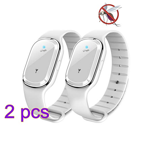 Woqook Mückenschutz-Armband, elektrisch, Ultraschall, Anti-Mücken-Armband, verstellbares Armband für Camping, Wandern 2 pcs weiß