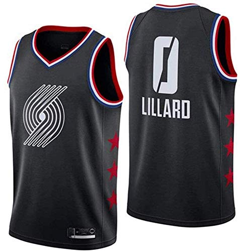 WSWZ Maglie NBA da Uomo - Portland Trail Blazers 0# Damian Lillard NBA Basketball Maglie - Maglietta Unisex Comoda da Basket Sportiva,A,L(175~180CM/75~85KG)