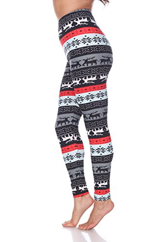 Premium Quality Women's Legging Printed for Holiday Christmas Reindeer Snowflake (Plus Size, Grey/Red 195)