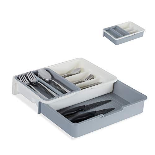 Relaxdays Cubertero Extensible, 7 Compartimentos, Organizador de Cubiertos Cajón, PP, 1 Ud,...