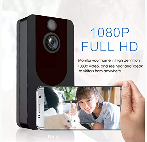 Wireless Doorbell Camera WiFi Smart Video Doorbell 1080P HD Security Camera Doorbell with Real Time Push Alerts Night Vision Weather Resistant Free Cloud Storage New Upgraded (Batteries Included)