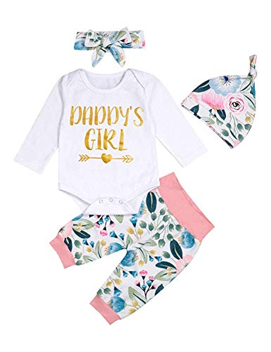 Neugeborenes Baby Kleidung 4pcs Outfits Strampler Hosen Stirnband Hut Herbst Winter Daddys Girl floral Sets, (Etikett 90)