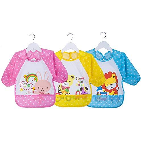 Baberos Bebés Impermeables Manga Larga Suave Material Para Niños Niñas