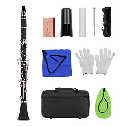 Clarinetto soprano in Sib a 17 tasti, in ABS, con panno per pulizia, guanti, 10 ance, cacciavite, custodia, colore nero