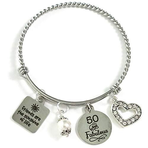 50th BIRTHDAY Friends are the Sunshine of Life Bangle, Friendship 50th Birthday Gift for Women, Milestone Birthday Gift for Her, 50 and Fabulous Bracelet