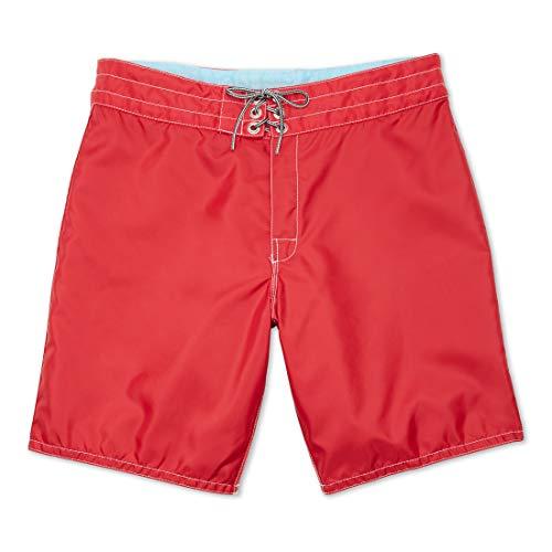 Birdwell Men's 311 Nylon Board Shorts, Medium Length (Red, 28)