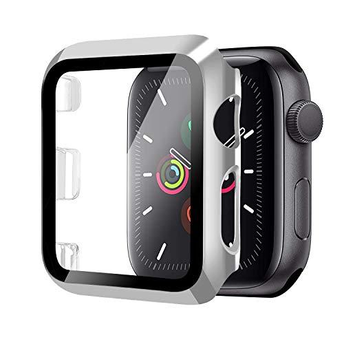 Funda para Apple Watch 42mm Serie 3/2/1+Cristal Templado, Qianyou PC Case y Vidrio Protector Pantalla Integrados, Anti-Rasguños Slim Bumper Case Cover para iWatch 42mm 1/2/3 (Plata)