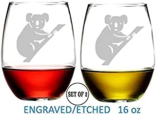 Koala Stemless Wine Glasses Etched Engraved Perfect Handmade Gifts for Everyone Set of 2