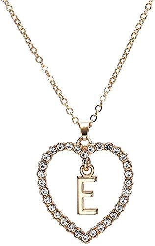 LLJHXZC Collar Mujer S Forma De Corazón Carta Colgante Collar Estilo De Verano Collar De Cadena De Cristal Adornos Regalo De Novia