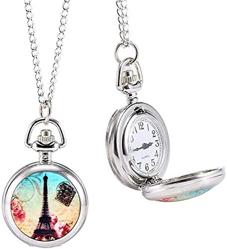 DNGDD Reloj de Bolsillo de Cuarzo Vintage de Moda, patrón de Torre Colorida, Cadena de suéter Retro, Collar, Reloj Colgante, Regalos
