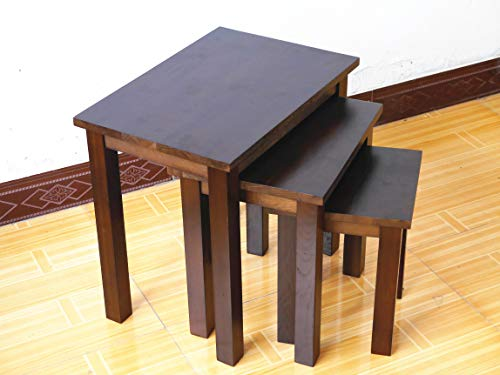 Rongyuan OAK Walnut Solid Nest of 3 Tables Coffee Table Small Wooden Side/End/Lamp/Nesting Tables for Living Room