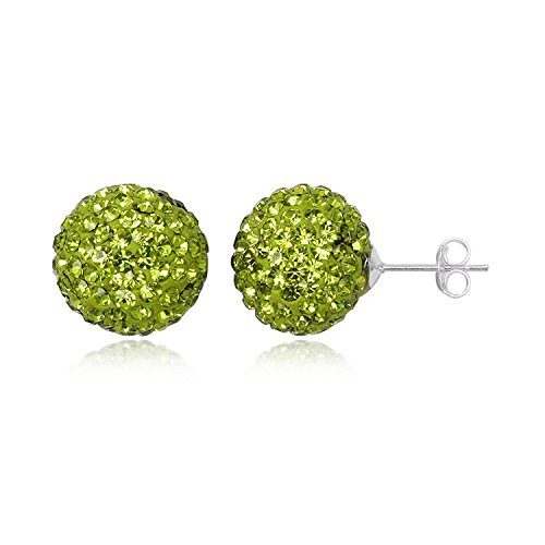 14MM WOMENS Sparkly Disco Ball Sterling Silver Stud Earrings - GREEN OLIVINE or Choose From 29 Colours