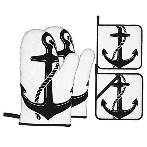 Ofenhandschuhe und Topflappen 4er-Sets,Anker-Vektor-Logo-Symbol-nautisch-maritim-1019103784src = QMOt-JQQUq8Av4Tsy61MZw,Handschuhe mit widerstandsfähigen heißen Pads zum Kochen,Kochen,Backen,Grillen