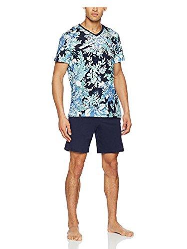 HOM Herren Blue Short Sleepwear Zweiteiliger Schlafanzug, Blau (Haut: Imprimé Floral Bleu Bas: Marine), XX-Large (Herstellergröße: 2XL)
