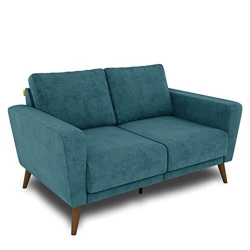 KAUTSCH Lotta Zweisitzer Sofa für Wohnzimmer zerlegbar - Couch 2-Sitzer - Polstersofa - B 144 cm - ohne Longchair - Petrol - Holzfüße Farbton Nussbaum