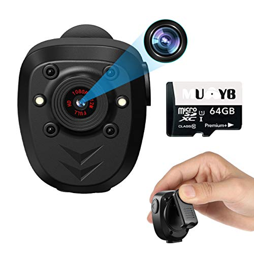 Body Camera Video Recorder Small Cam Digital Camcorder Outdoor Mini Cam Portable Wearable Camera Recorder,1080P Camcorder 64GB Outdoor Sports DV Driving,Riding,Motorcycle