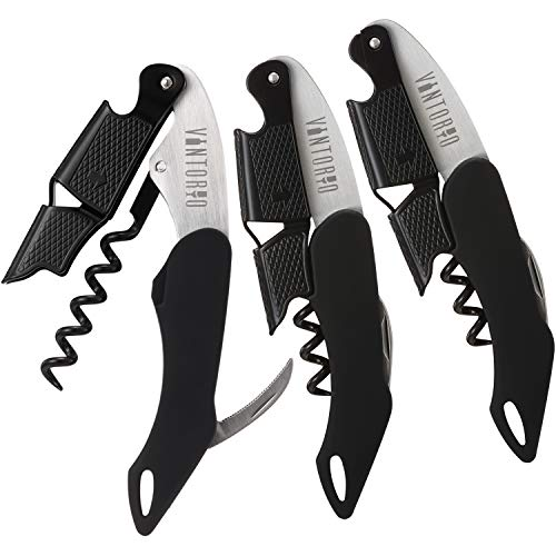 Vintorio Professional Waiters Corkscrew - Wine Key with Ergonomic Rubber Grip, Beer Bottle Opener...
