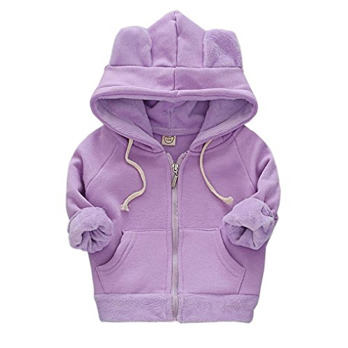 Sunbona Toddler Baby Girls Cute Autumn Long Sleeve Hoodie Jacket Outwear Warm Thick Coat Clothes (3-4T, Purple)