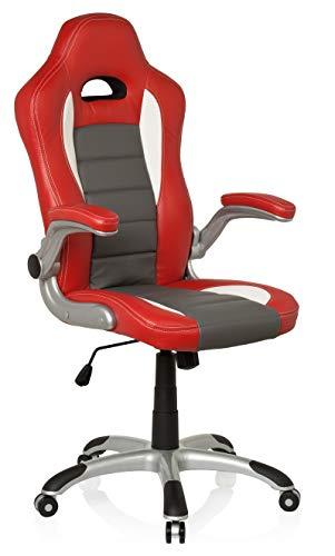 hjh OFFICE 621705 silla gaming RACER SPORT piel sintética rojo/gris reposabrazos plegables silla de escritorio inclinable