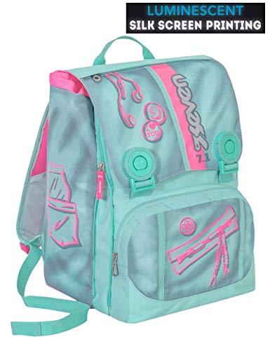 Zaino scuola SEVEN - COLORFUL GIRL - Azzurro Rosa - estensibile - SERIGRAFIA FOTOLUMINESCENTE - 28 LT - elementari e medie inserti rifrangenti