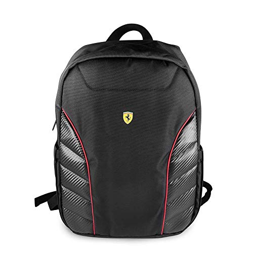 """Ferrari Computer Backpack Pit Stop Collection Scuderia 15"""" Nylon PU Carbon Dual Compartment for 15.6"""" MacBook Pro Bag and a Slim-Fit pocket for an iPad, iPad Mini, or tablet up to 10.1'' (Black)"""