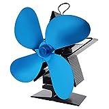 pengyus Ventiladores De Horno De Fuente Caliente De 4 Cuchillas para El Hogar Chimenea De Combustión De Leña De Circulación Ventilador De Chimenea De Combustible De Ahorro De Energía Caliente Azul