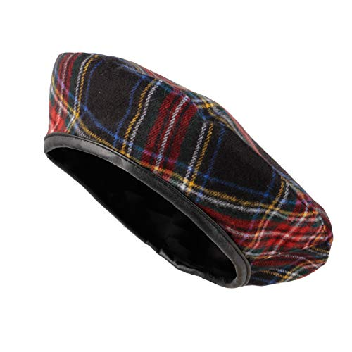 WITHMOONS Polyester Beret Hat Tartan Check Leather Sweatband KR3781 (Black)