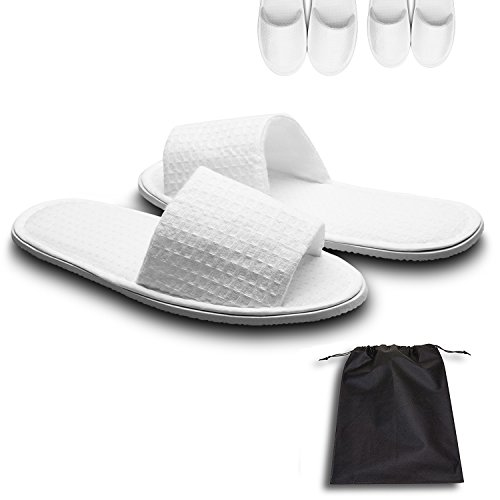 Echoapple Waffle Open Toe White Slippers