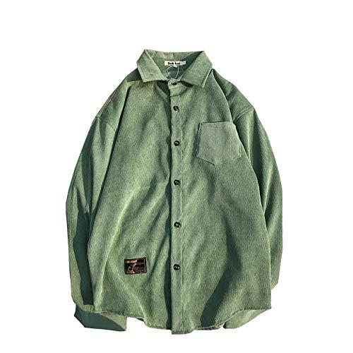 DXHNIIS Material de Pana Turn-Down Estilo Preppy Camisa Hombre Otoño Color sólido Camisa de Hombre 4 Colores L Camisa Verde: Amazon.es: Deportes y aire libre
