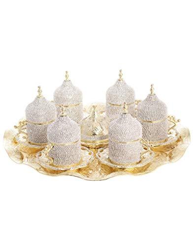 Trmade Traditionelles dekoriertes Antik Old Ottoman Türkisch Griechisch Arabisch Kaffee Espresso Tasse Untertasse Swarovski Kristall Set Gold 1